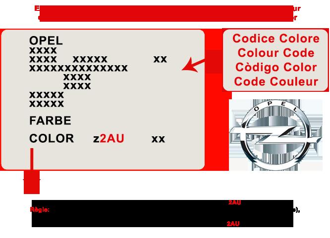 localiser code couleur opel